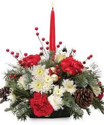 holiday centerpiece single flowers christmas bagoy u0027s florist