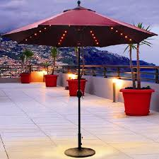 Patio Umbrella Lights Led 9 Foot Oasis Auto Tilt Umbrella With Built In Led Lights
