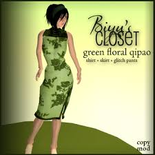 second life marketplace green floral qipao chinese dress
