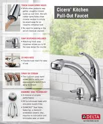 Kitchen Faucet With Soap Dispenser Delta Cicero Single Handle Pull Out Sprayer Kitchen Faucet With