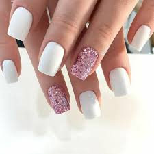 White Pink Nail Square Nails White Nails Pink Glitter Nails Acrylic Nails Gel