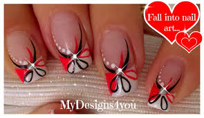 red and black floral nails abstract nail art diseño uñas