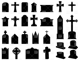 silhouettes of funerary gravestones tombstone and crosses vector