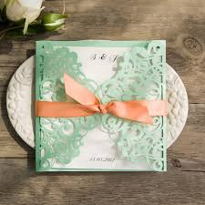 mint wedding invitations mint green and laser cut wedding invitations ewws103