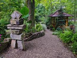 japanese garden statues landscape asian with pavers wooden and