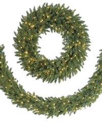 holiday time pre lit 18 christmas garland multi lights fraser fir wreath and garland balsam hill