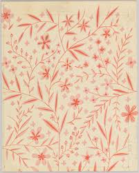 drawing leaf and flower pattern textile design 1950 u201370