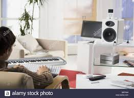 Young Room by Living Room Man Young Sitting Keyboard Data Input Back View Detail