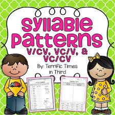 v cv syllable patterns v cv vc v and vc cv no prep worksheets tpt