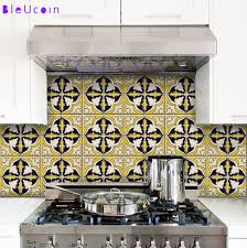 ochre mexican tile wall decal for kitchen bathroom