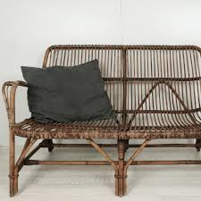 vintage wicker rattan 2 seater 1960s banquette canapé rotin