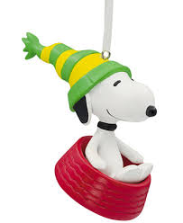 hallmark resin figural snoopy in dish ornament