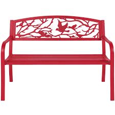 Metal Patio Furniture - rose red steel patio garden park bench outdoor living patio