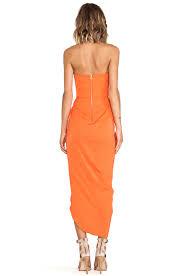 shona joy bauhaus draped bustier dress in orange lyst