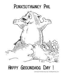 Groundhog Day Coloring Pages Punxsutawney Phil Groundhog Groundhog Color Page