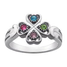 mothers rings with 4 stones s simulated birthstone four leaf clover ring in sterling