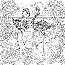 hand drawn birds flamingos in a branches tree on the sea beach