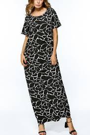 black scoop neckline short sleeve black white floral tonal