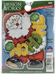 design works santa ornament plastic canvas kit 559
