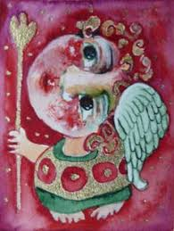 aceo folk art angels painting original naive primitive watercolor