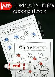 community helper dab sheets playdough to plato