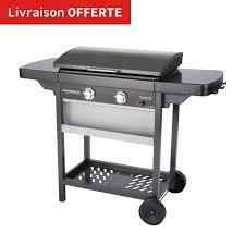 cuisine à la plancha gaz plancha au gaz campingaz sur chariot leroy merlin