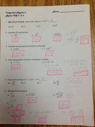 integrated math 1 worksheets integrated algebra answer keys mhshs