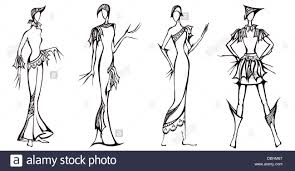 sketch of fashion model design of dresses based on the knight