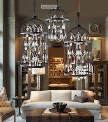 Iron Chandelier With Crystals Discount American Country European Retro Iron Cage Crystal