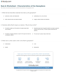 quiz u0026 worksheet characteristics of the geosphere study com