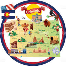 Maps Colorado Springs by Cartoon Map Of Colorado Stock Vector Art 482560314 Istock