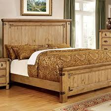 Country Bed Frame Pioneer Country Style Weathered Elm Finish Cal King