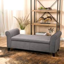 Cushioned Ottoman Padded Bench Seat With Storage Fabric Armed Storage Ottoman Bench