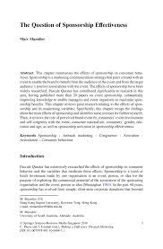 Sponsorship Letter For Sports Event The Question Of Sponsorship Effectiveness Springer