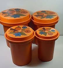vintage canister set rubbermaid plastic orange nesting retro