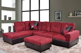 low profile red microfiber u0026 faux leather sofa sectional w left