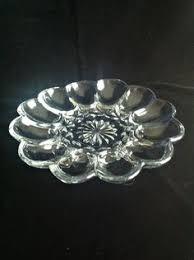 vintage deviled egg platter anchor hocking fairfield egg plate clear glass deviled egg tray