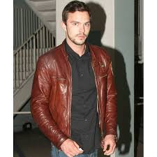 motorcycle style jacket nicholas hoult jacket brown leather motorcycle jacket for mens