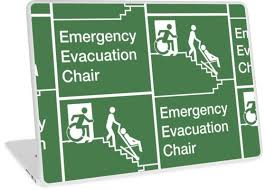 emergency evacuation chair sign with the accessible means of