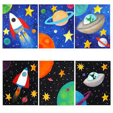 themed paintings space themed wall for kids set of 3 custom space paintings