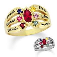 mothers ring 7 stones 10k gold simulated birthstone and cubic zirconia family songs of