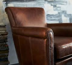 Pottery Barn Swivel Chair Irving Leather Armchair With Nailheads Pottery Barn Au