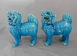 turquoise foo dogs for sale vintage 1960s porcelain standing foo dogs in x sold gallery