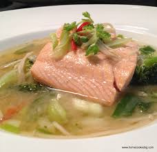 home cooked sg salmon poached in miso broth