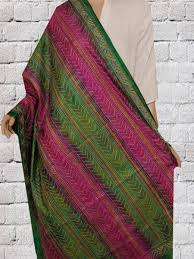 Muted Green by Buy Muted Green With Pink Silk Kantha Work Dupatta U2022 Matkatus