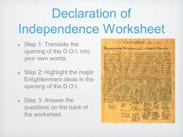 Declaration Of Independence Worksheet Answers Revolution Build Up Overview Results Ppt