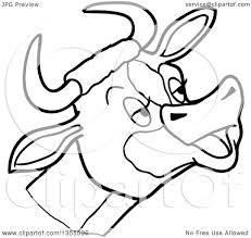 outline clipart of a cartoon black and white mooing cow head
