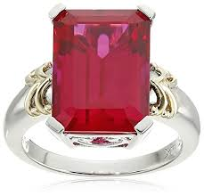 ruby rings sale images Sterling silver and 14k yellow gold emerald cut jpg