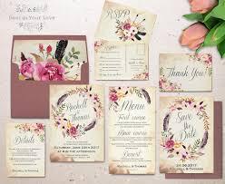 floral wedding invitation set printable boho wedding
