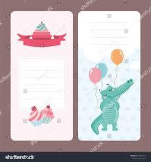 set greeting card design cute crocodile stock vector 456907675